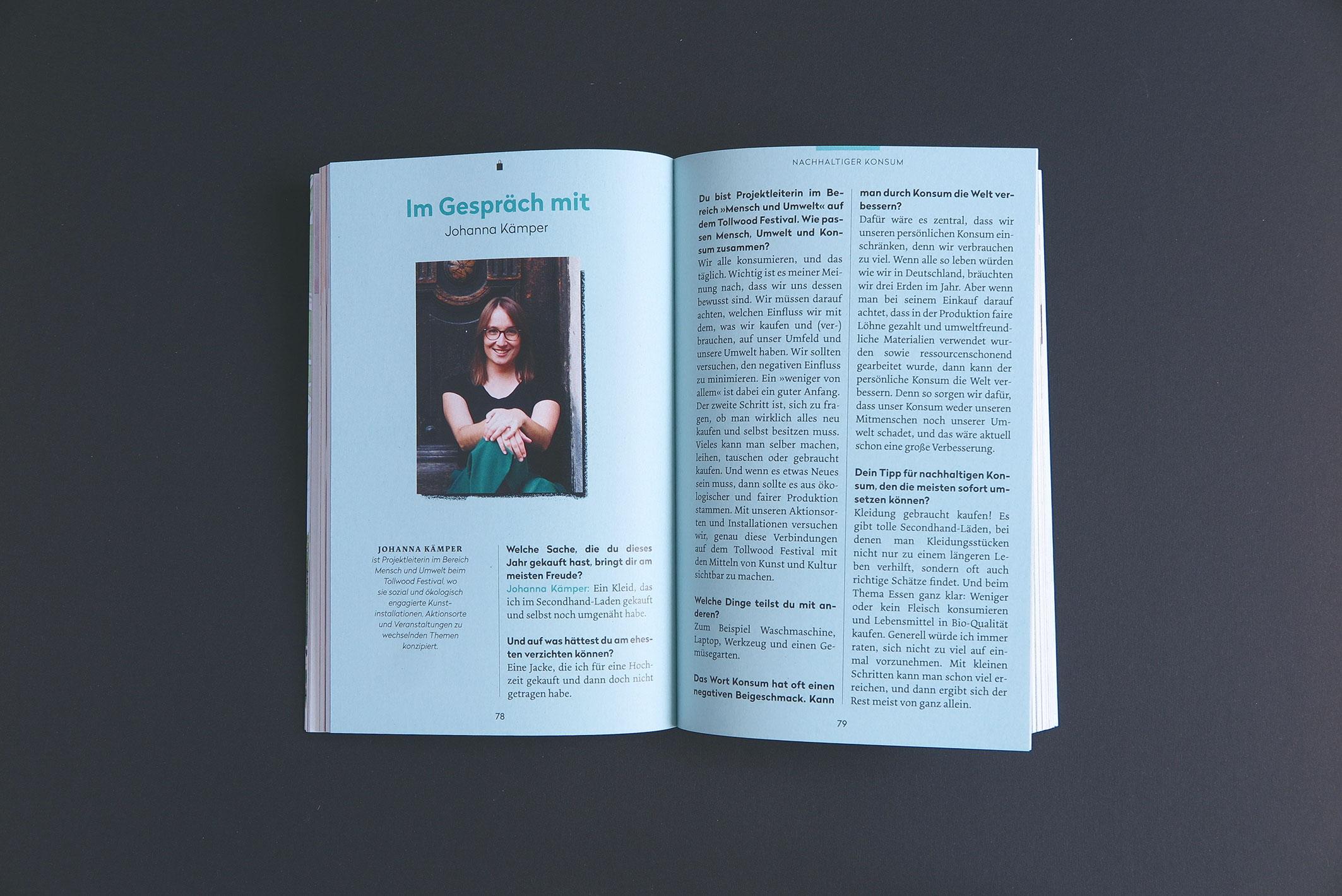 """Doppelseite Interview """"Unser grünes München – der nachhaltige Cityguide"""""""