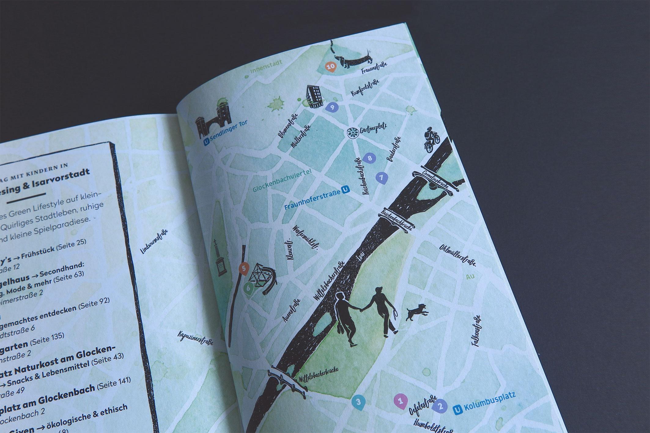 """Detailaufnahme eines Stadtplans, """"Unser grünes München – der nachhaltige Cityguide"""""""