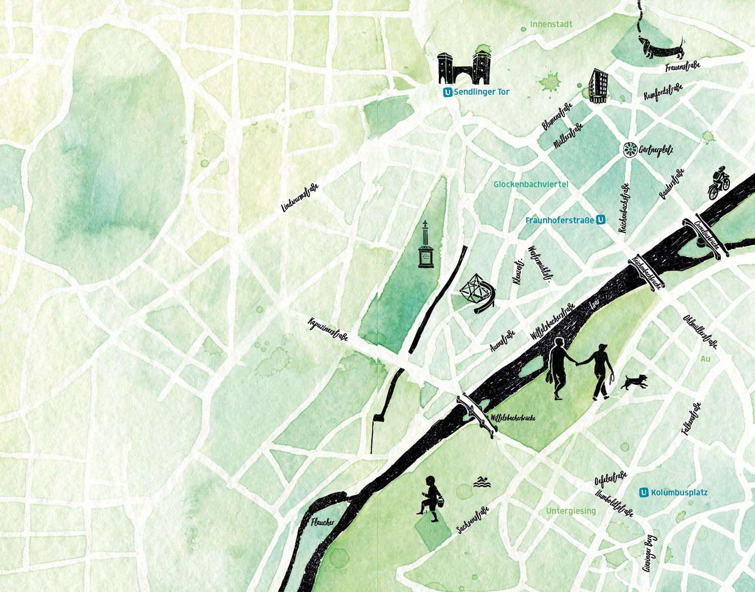 Stadtplan Glockenbach