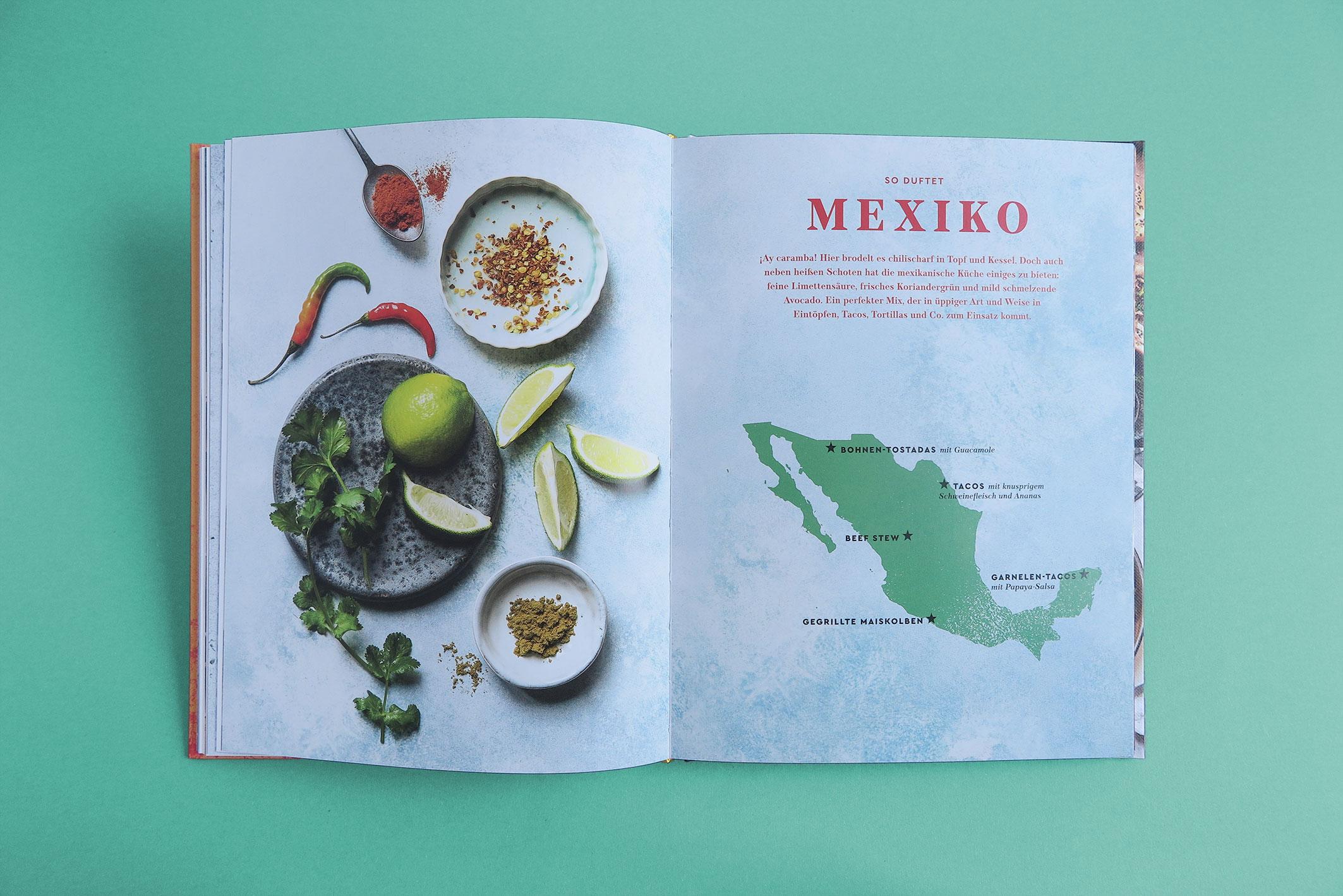 Kapitelaufmacher mit food still von Gewürzen und Landkarte